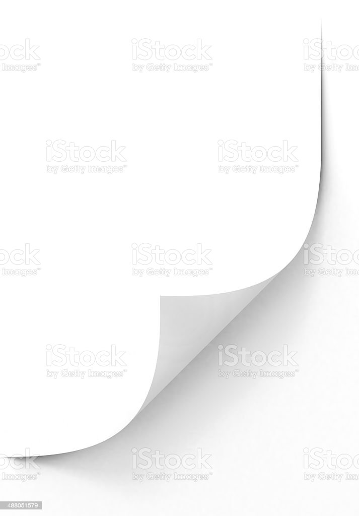 Blank sheet of paper with curled corner stock photo