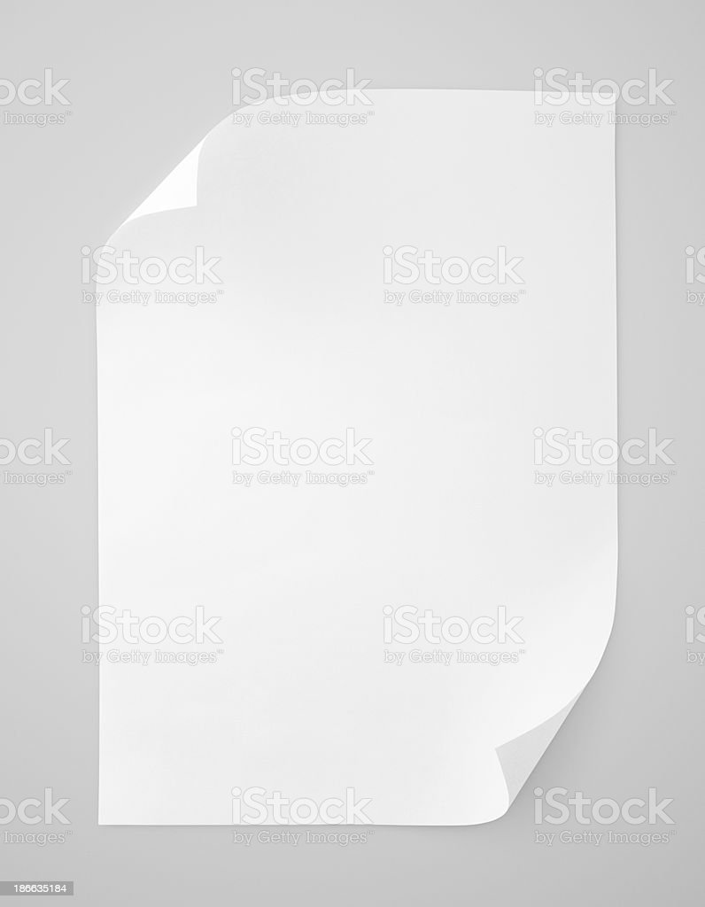 Blank sheet of white paper stock photo
