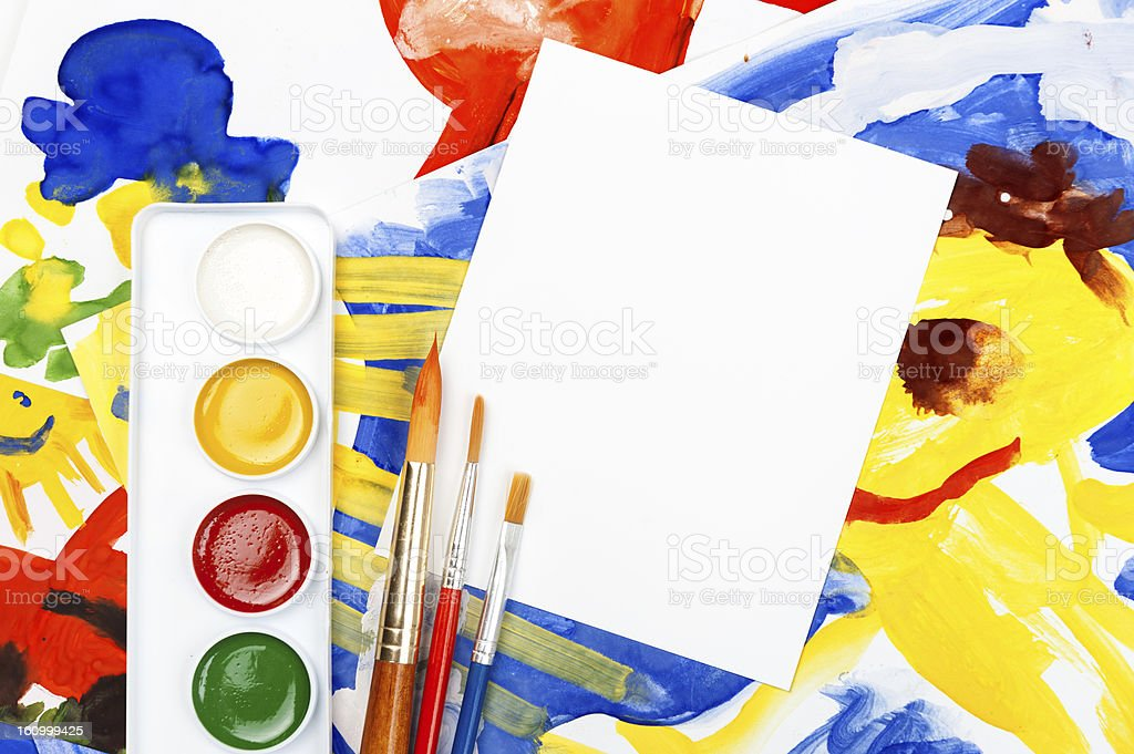 blank sheet with collage of painted illustration royalty-free stock vector art