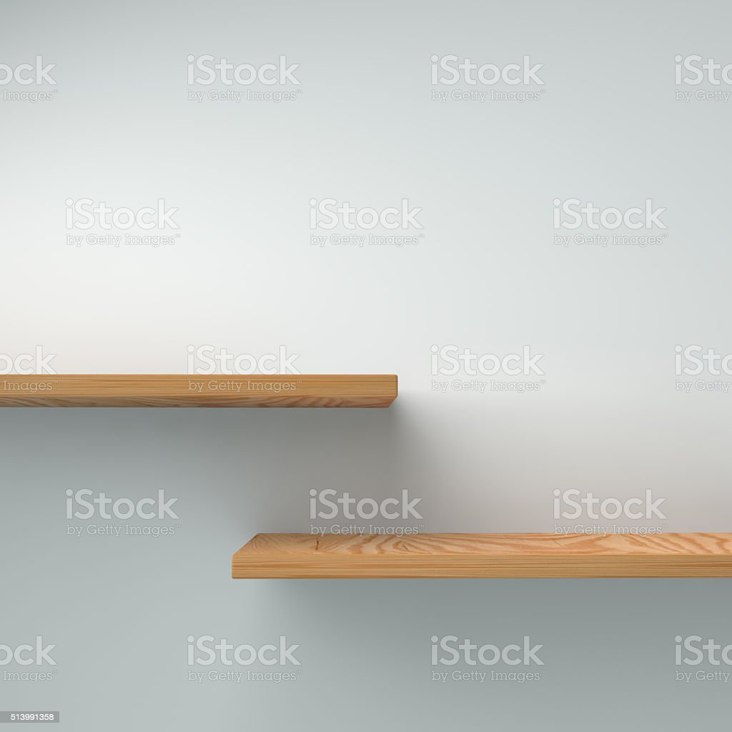 Blank shelf on a plain wall ready for your product stock photo