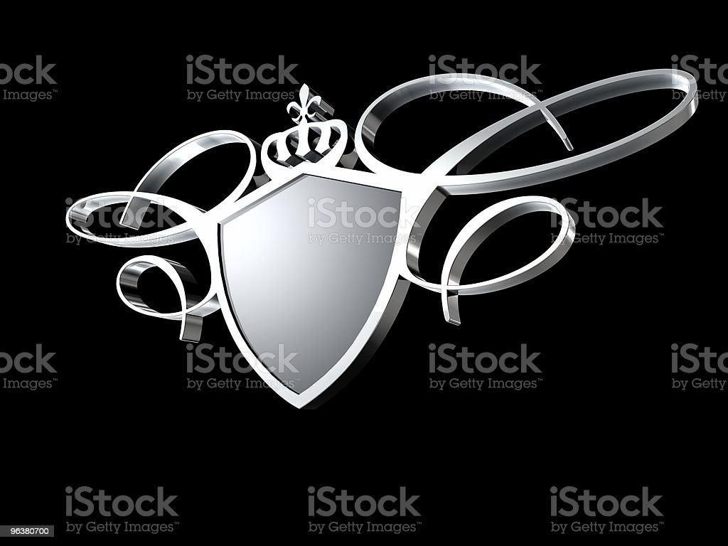 Blank shield isolated on black background stock photo