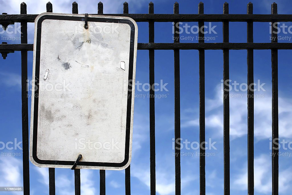 blank sign and fence royalty-free stock photo