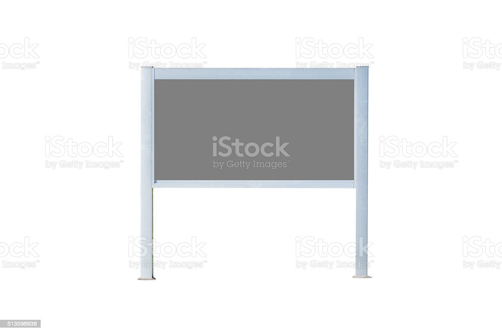 Blank sign board with grey. stock photo
