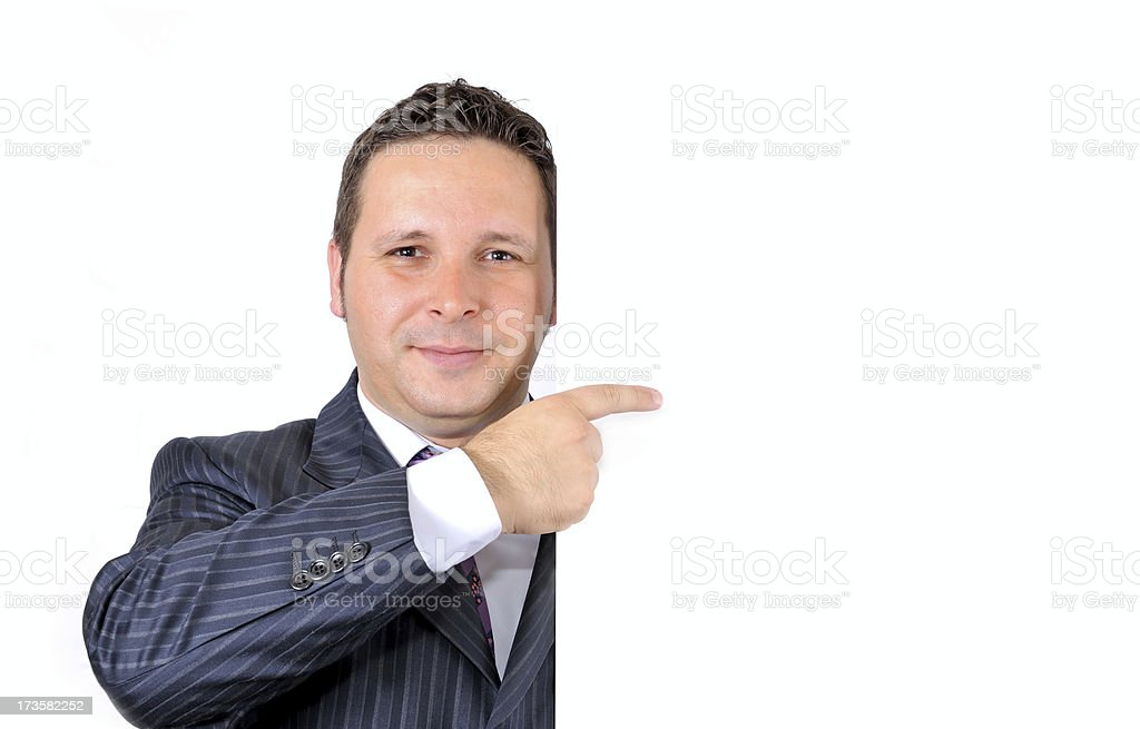 Blank sign - Businessman (on white) royalty-free stock photo
