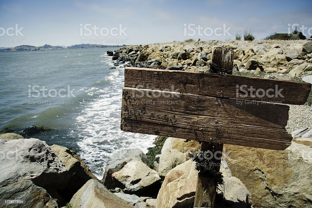 Blank Sign by the Sea royalty-free stock photo