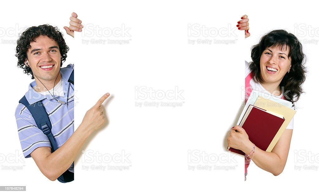 Blank sign - College Students (on white) royalty-free stock photo
