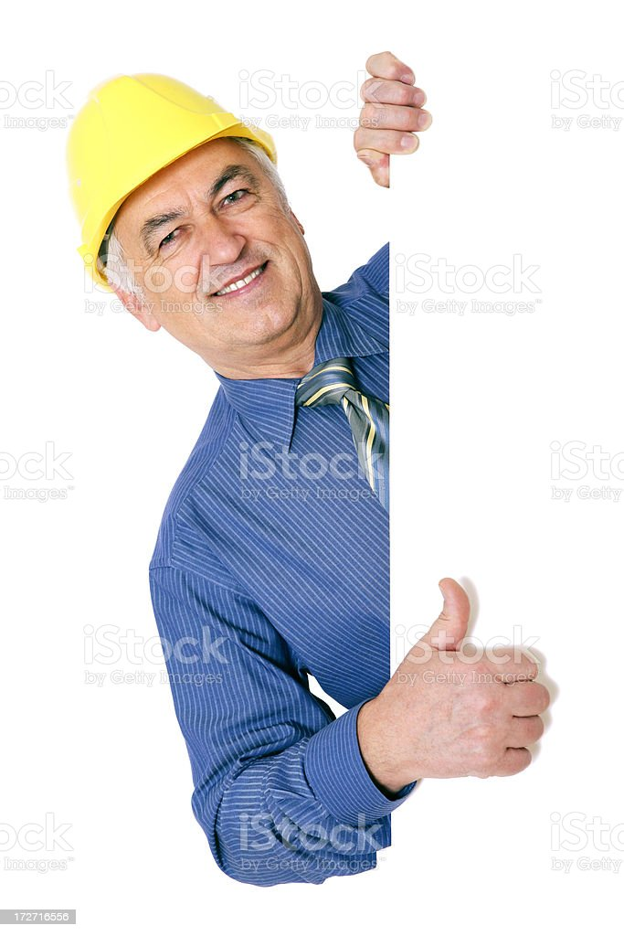 Blank sign - Construction Worker (on white) royalty-free stock photo