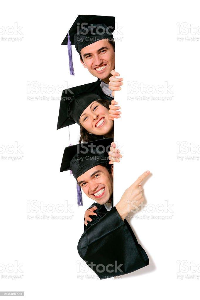 Blank sign - Graduates (on white) stock photo