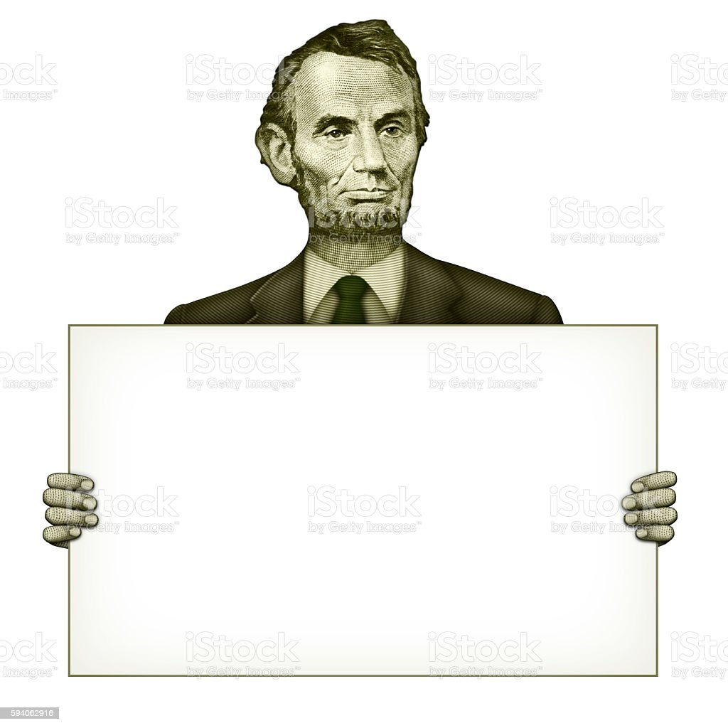 Blank Sign Held by Abraham Lincoln stock photo