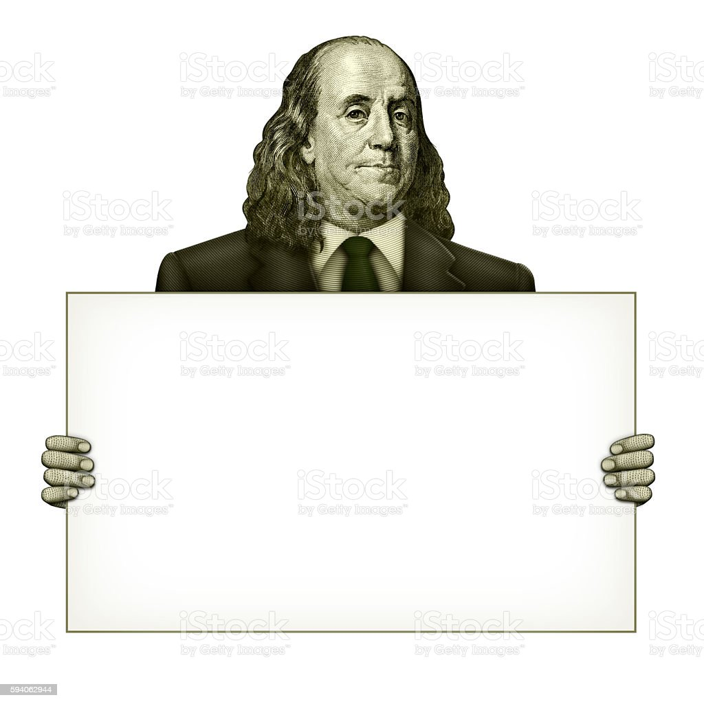 Blank Sign Held by Benjamin Franklin stock photo