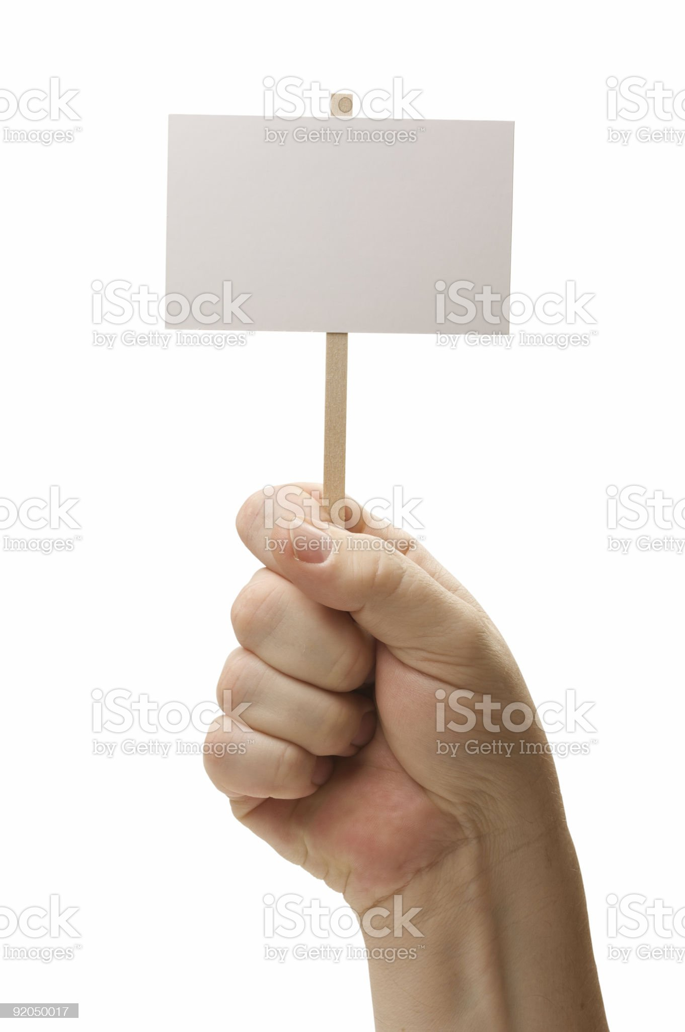 Blank Sign In Fist On White royalty-free stock photo