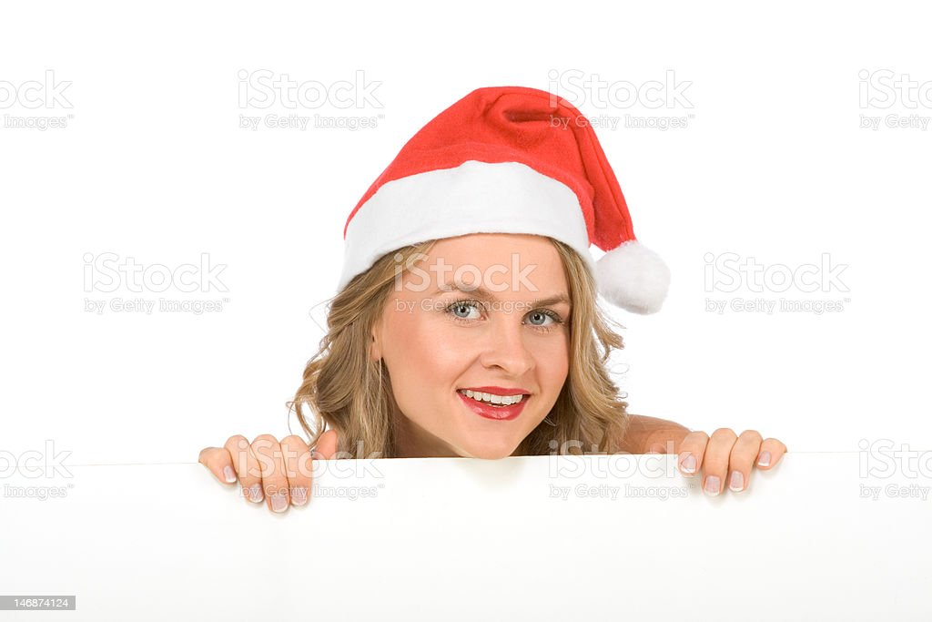 Blank sign - Mrs Santa Claus (with copy space) royalty-free stock photo