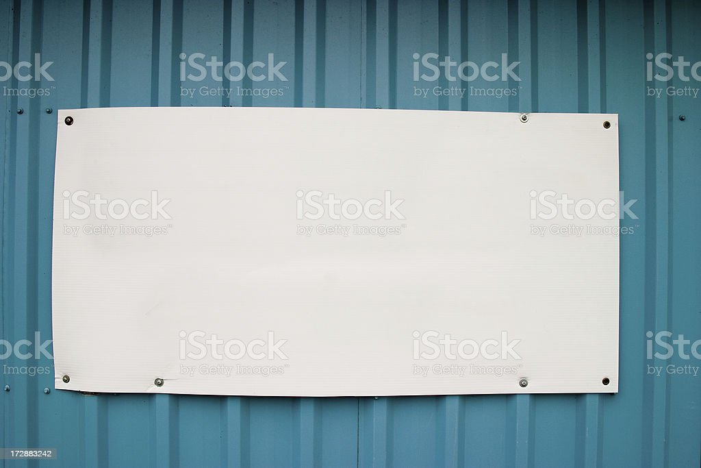 Blank sign on corrugated steel stock photo