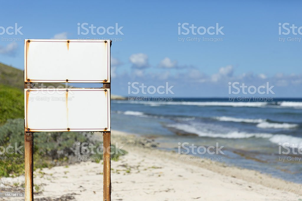 Blank sign on the beach royalty-free stock photo