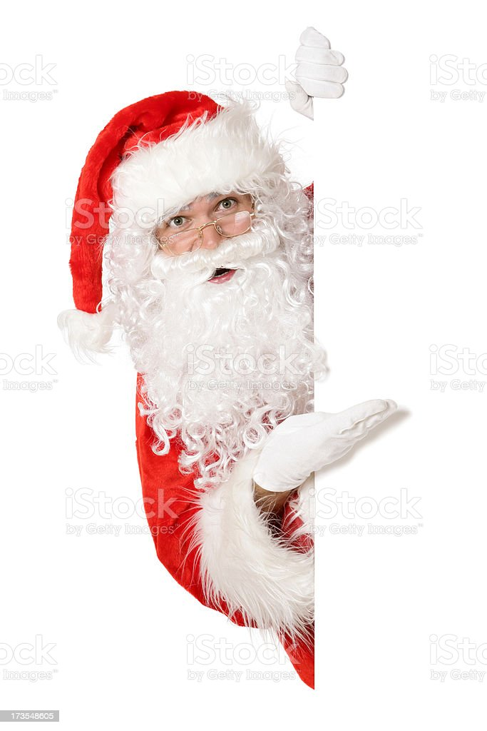 Blank sign - Santa (on white) royalty-free stock photo