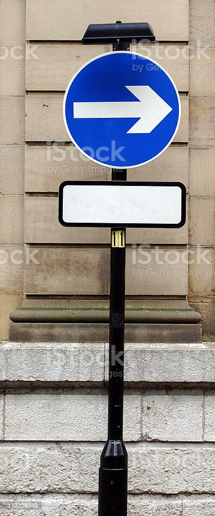 blank sign with arrow  above add your message royalty-free stock photo