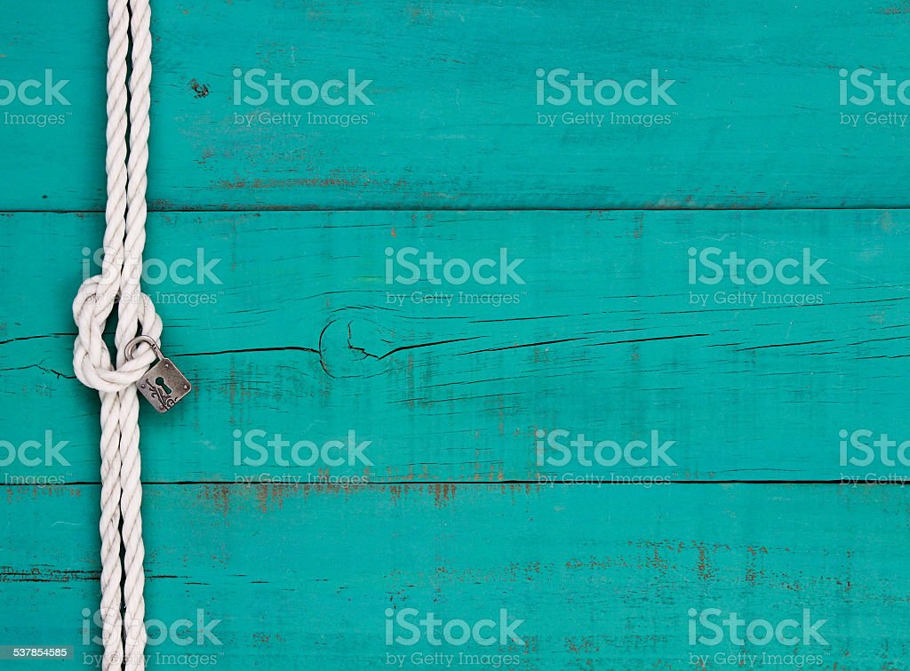 Blank sign with lock hanging on rope border stock photo