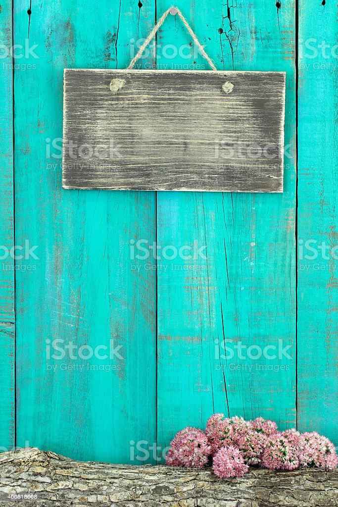 Blank sign with log and stonecrop border stock photo