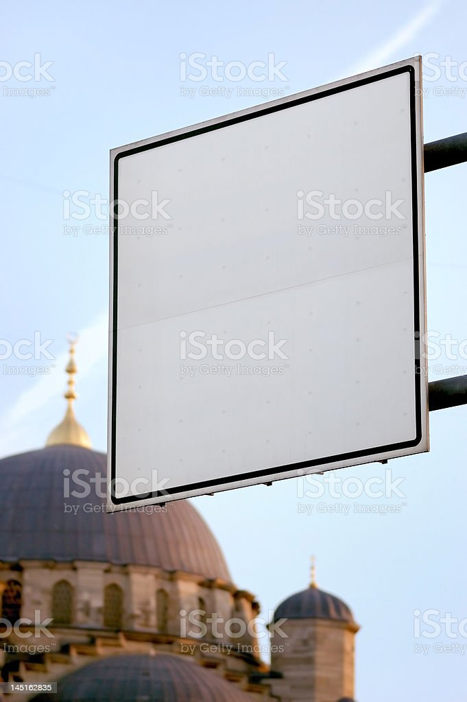 Blank signboard Istanbul stock photo
