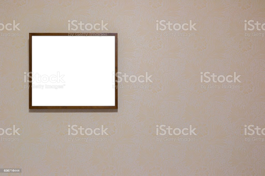 Blank signboard on wooden frame on the wall. stock photo