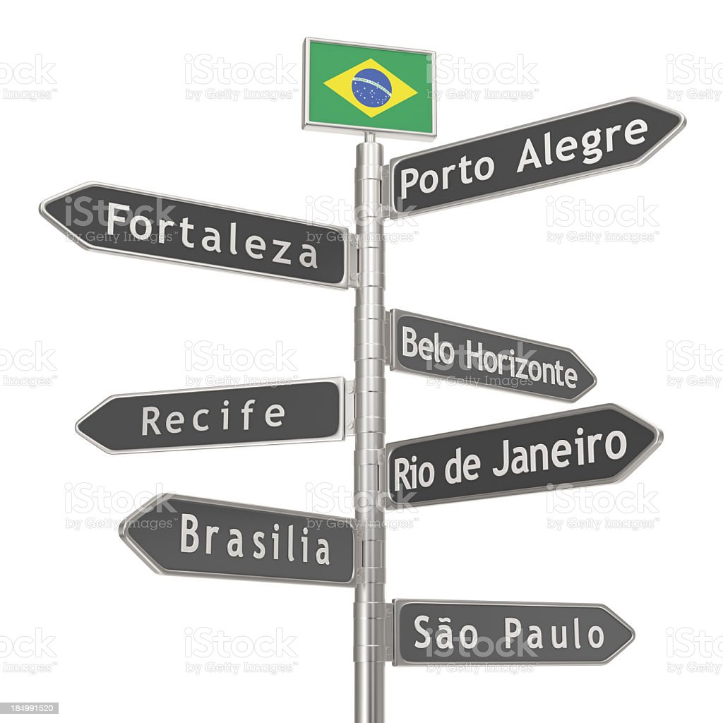 Blank Signpost - Brazil Cities royalty-free stock photo