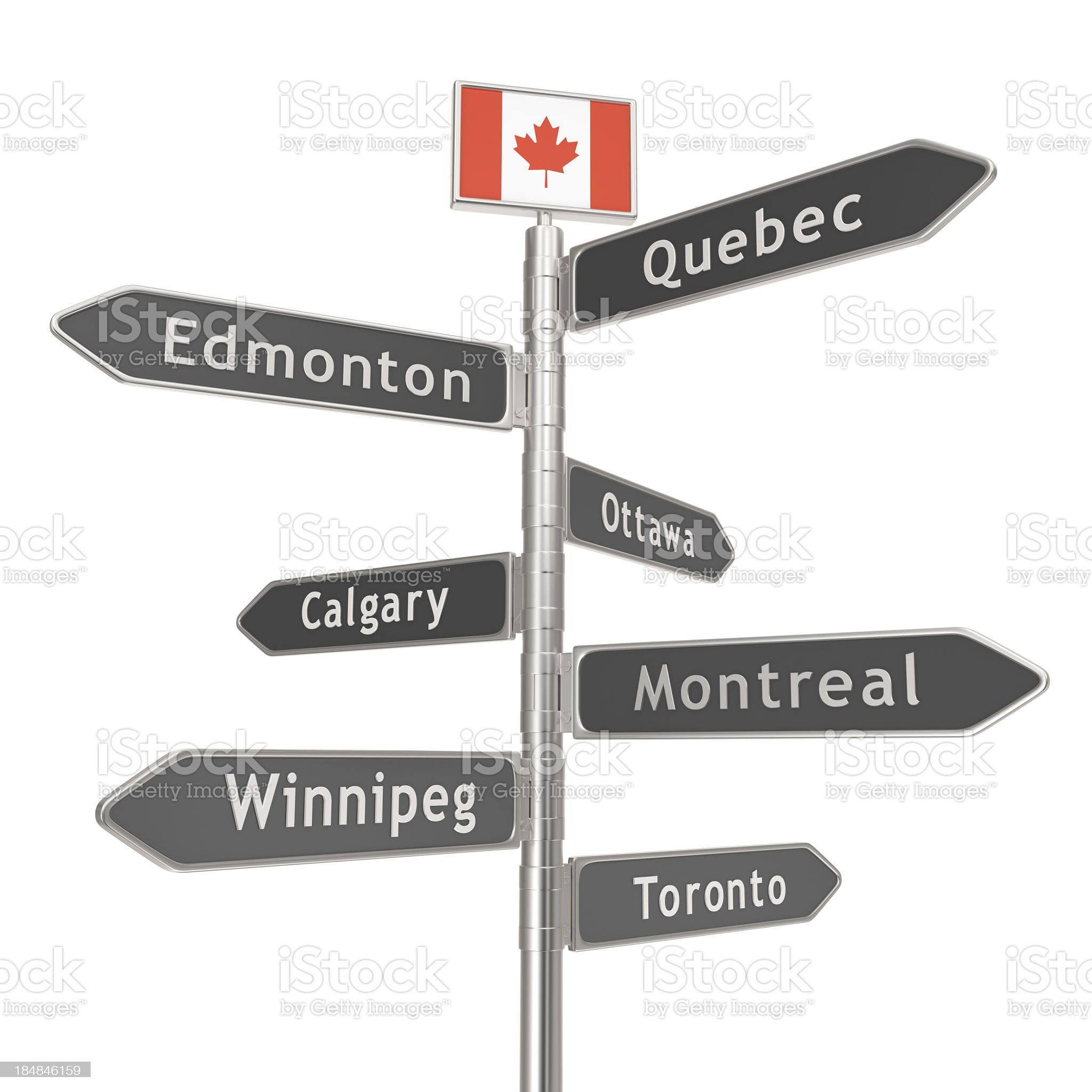 Blank Signpost - Canada Cities royalty-free stock photo