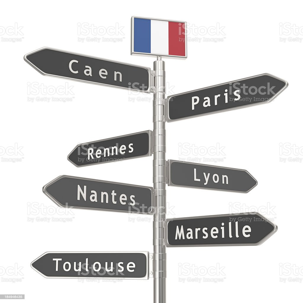 Blank Signpost - France Cities stock photo