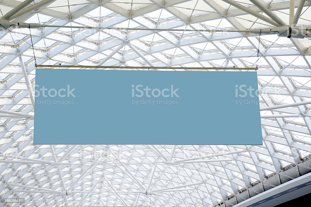Blank signpost hanging on the ceiling stock photo