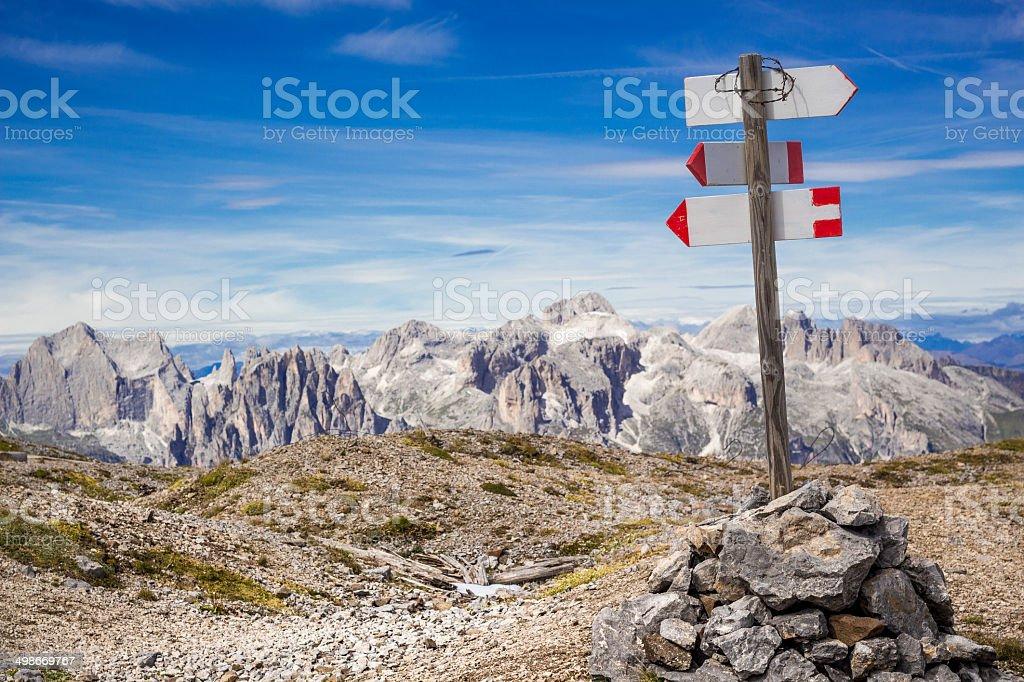 Blank Signpost on Alpine Landscape stock photo