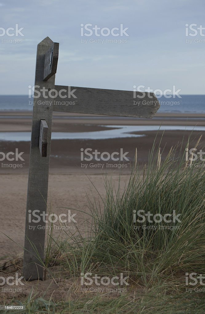 Blank Signpost on Norfolk Coast royalty-free stock photo