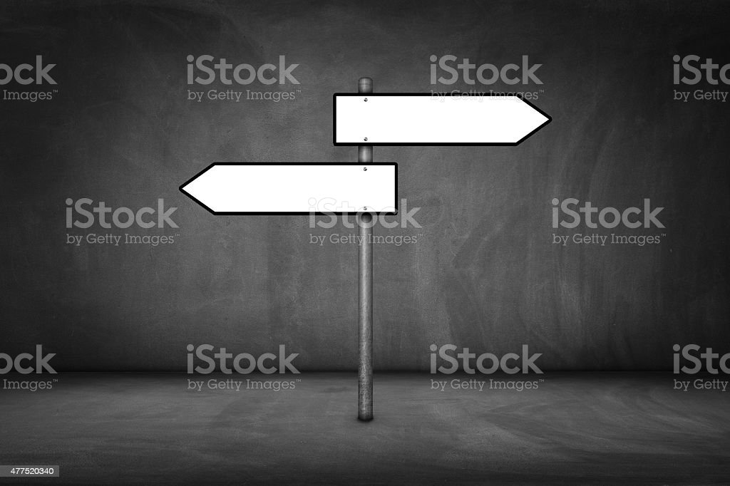 Blank signpost on wall stock photo