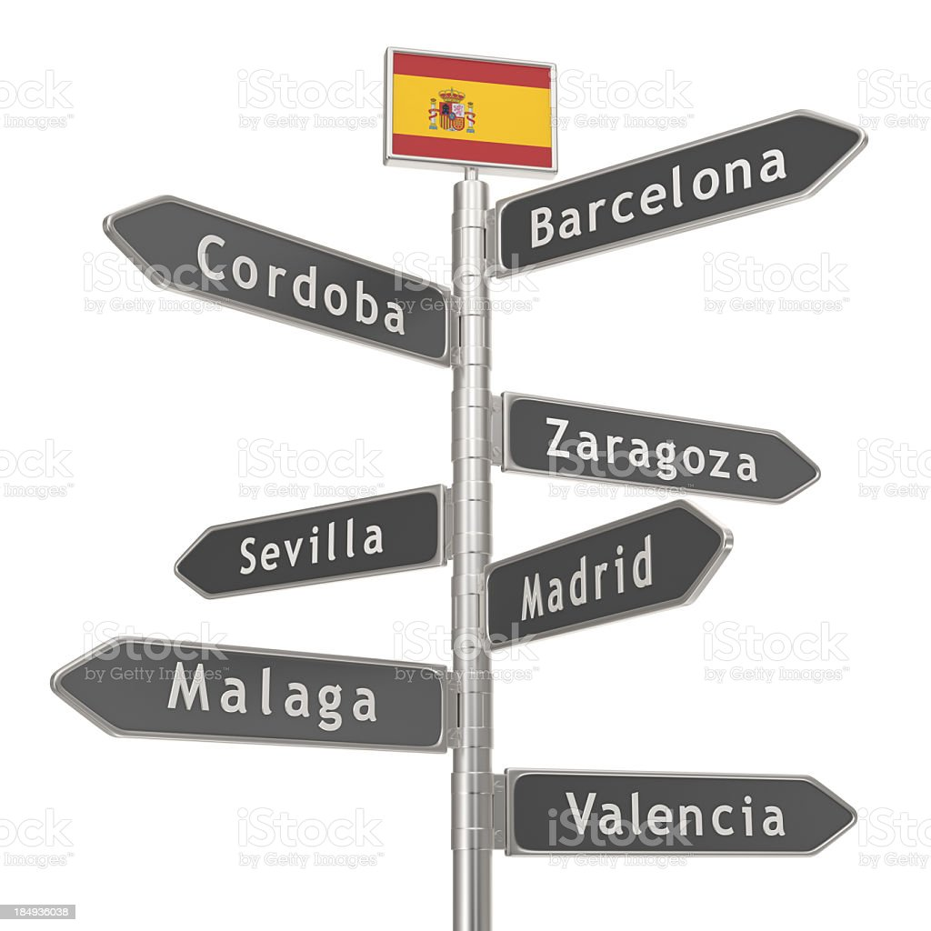 Blank Signpost - Spain Cities royalty-free stock photo