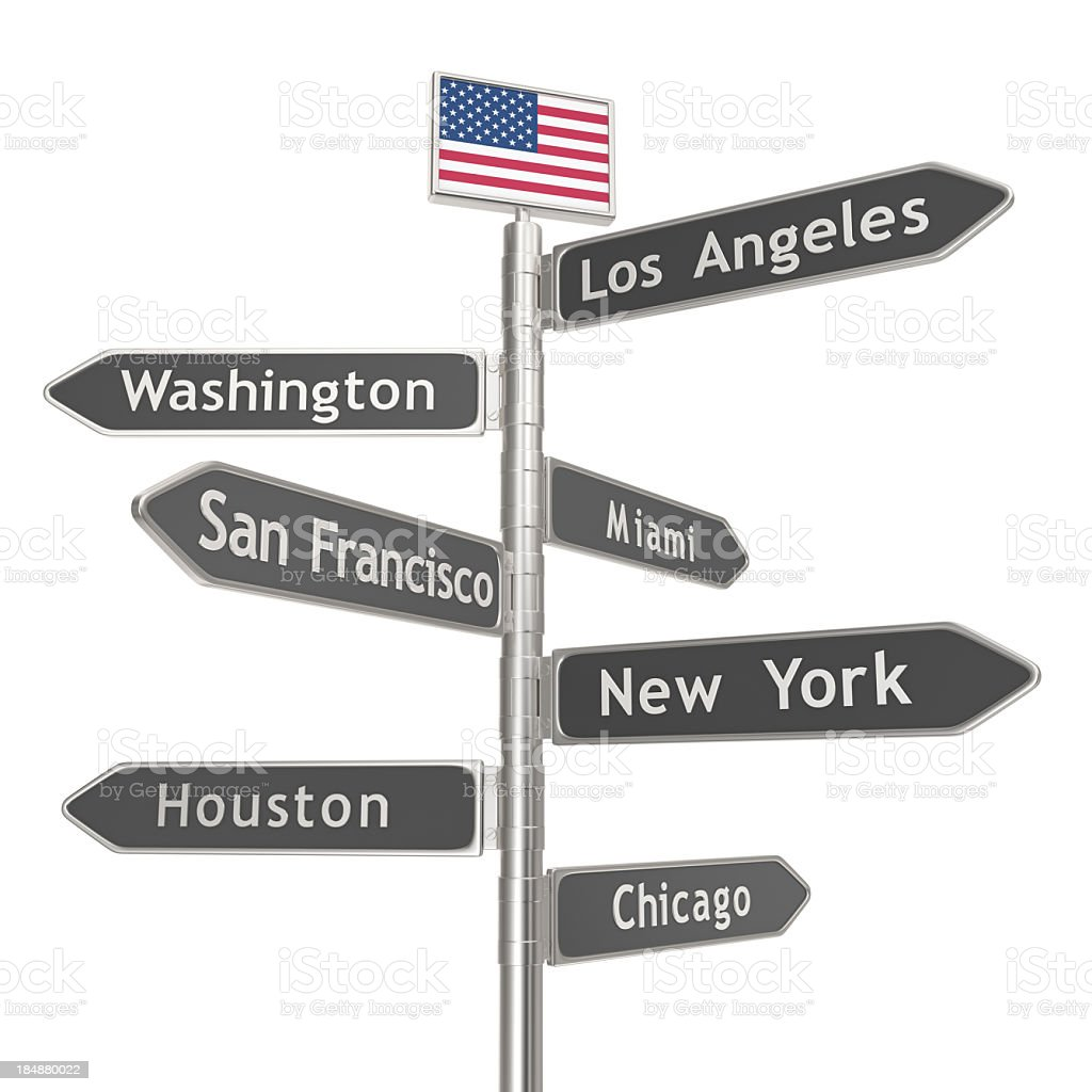 Blank Signpost - USA Cities royalty-free stock photo