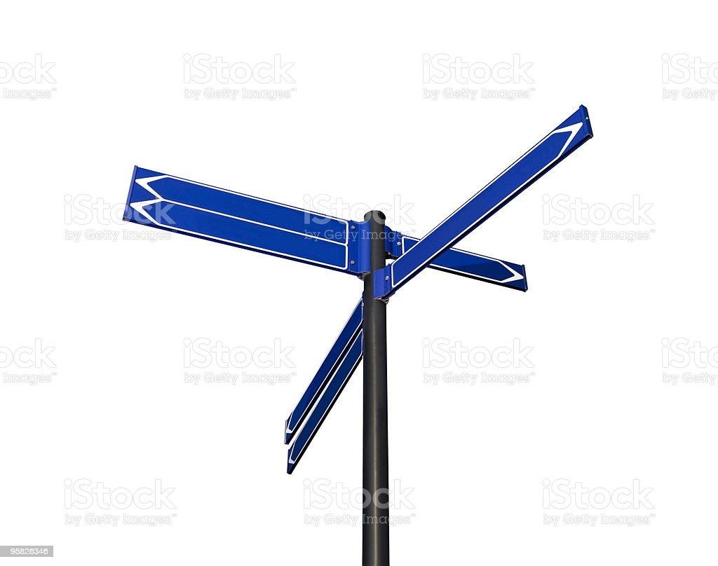 Blank signpost with six arrows royalty-free stock photo