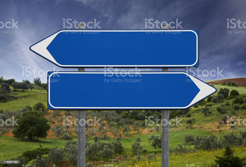 Blank signs in Tuscany, Italy stock photo