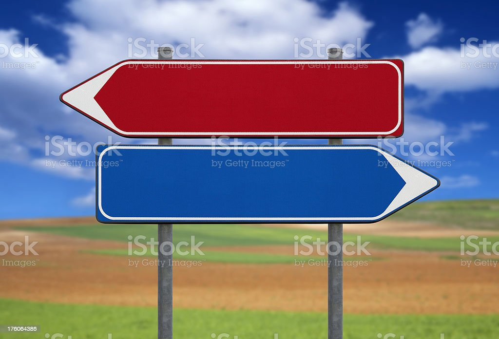 Blank signs on a field stock photo