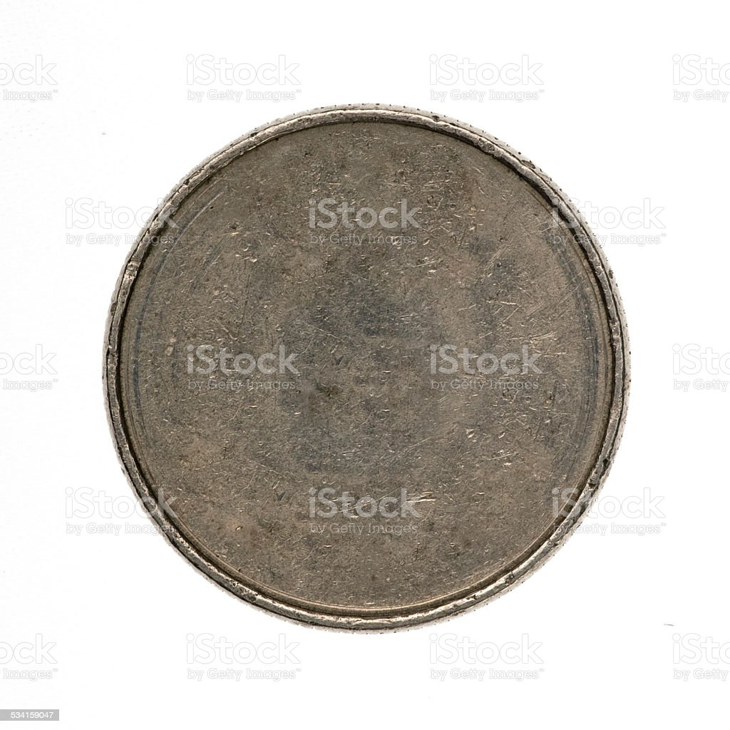 Blank silver coin stock photo
