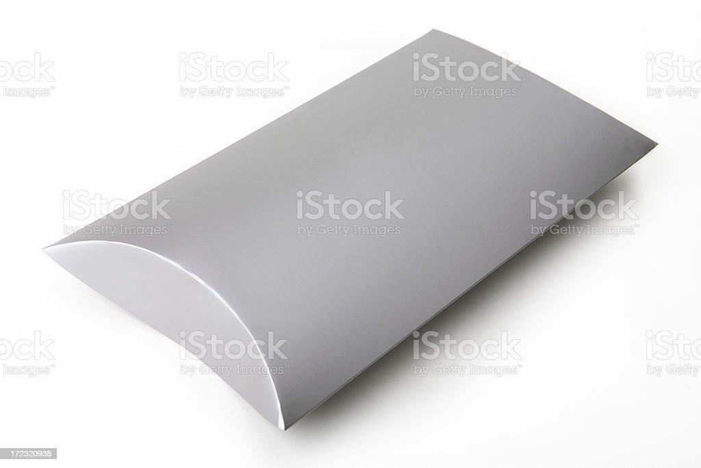Blank silver colored cardboard box stock photo