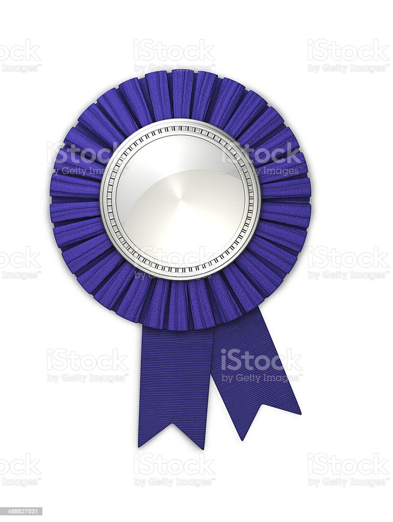 Blank Silver Medal with Blue Ribbon stock photo