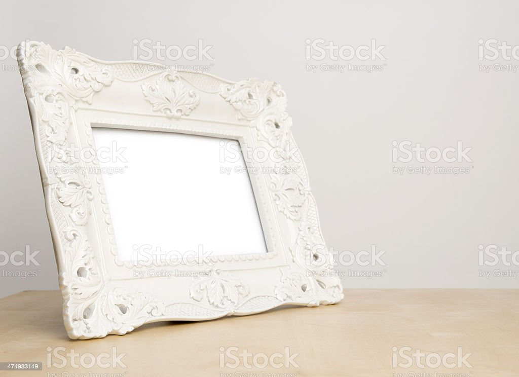 Blank silver picture frame on the table royalty-free stock photo