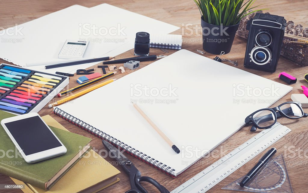 Blank sketchbook mockup stock photo