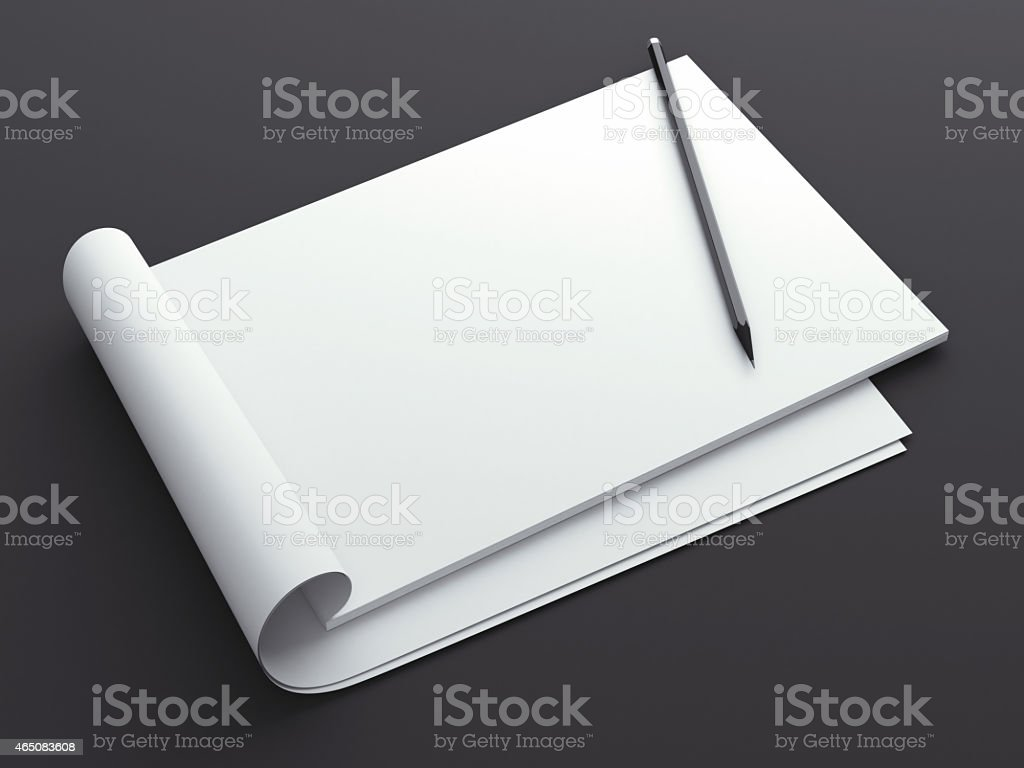 Blank sketchbook with pencil stock photo