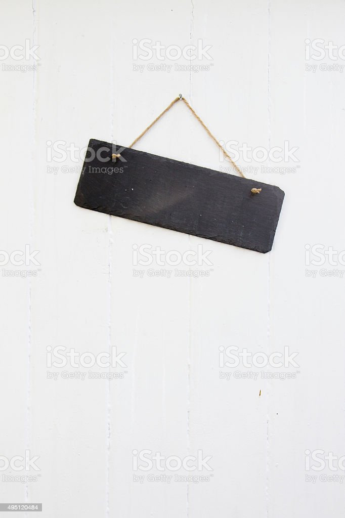 Blank slate sign on a door stock photo
