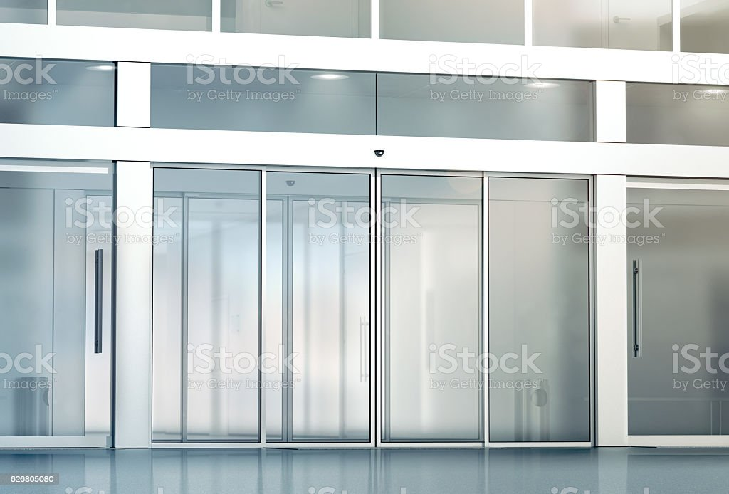 Blank sliding glass doors entrance mockup stock photo