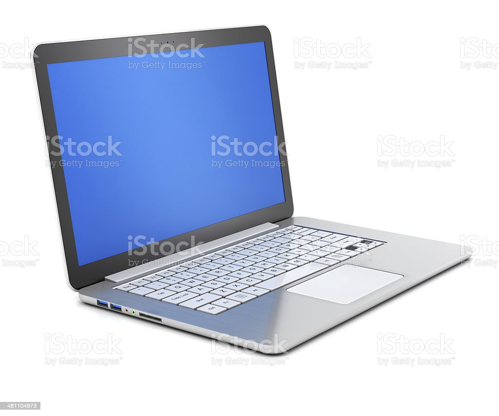Blank slim laptop, 3d render stock photo