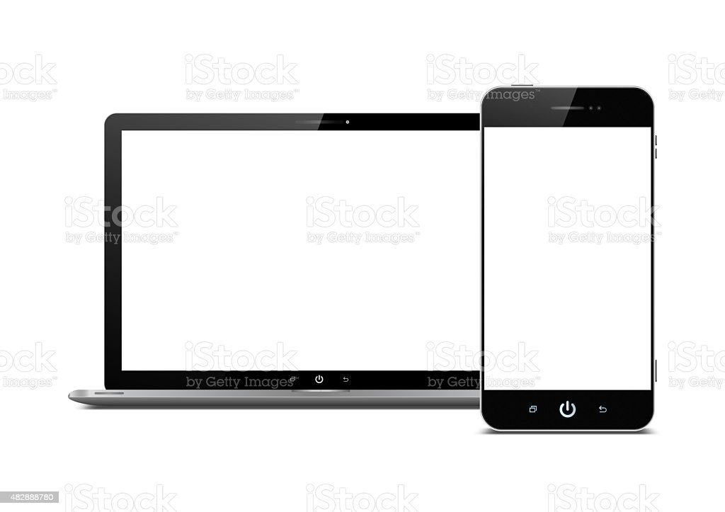 Blank Smart Phone and laptop isolated on white background stock photo