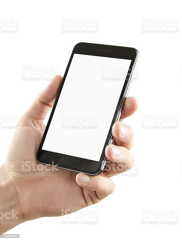 Blank smart phone in hand with clipping path stock photo