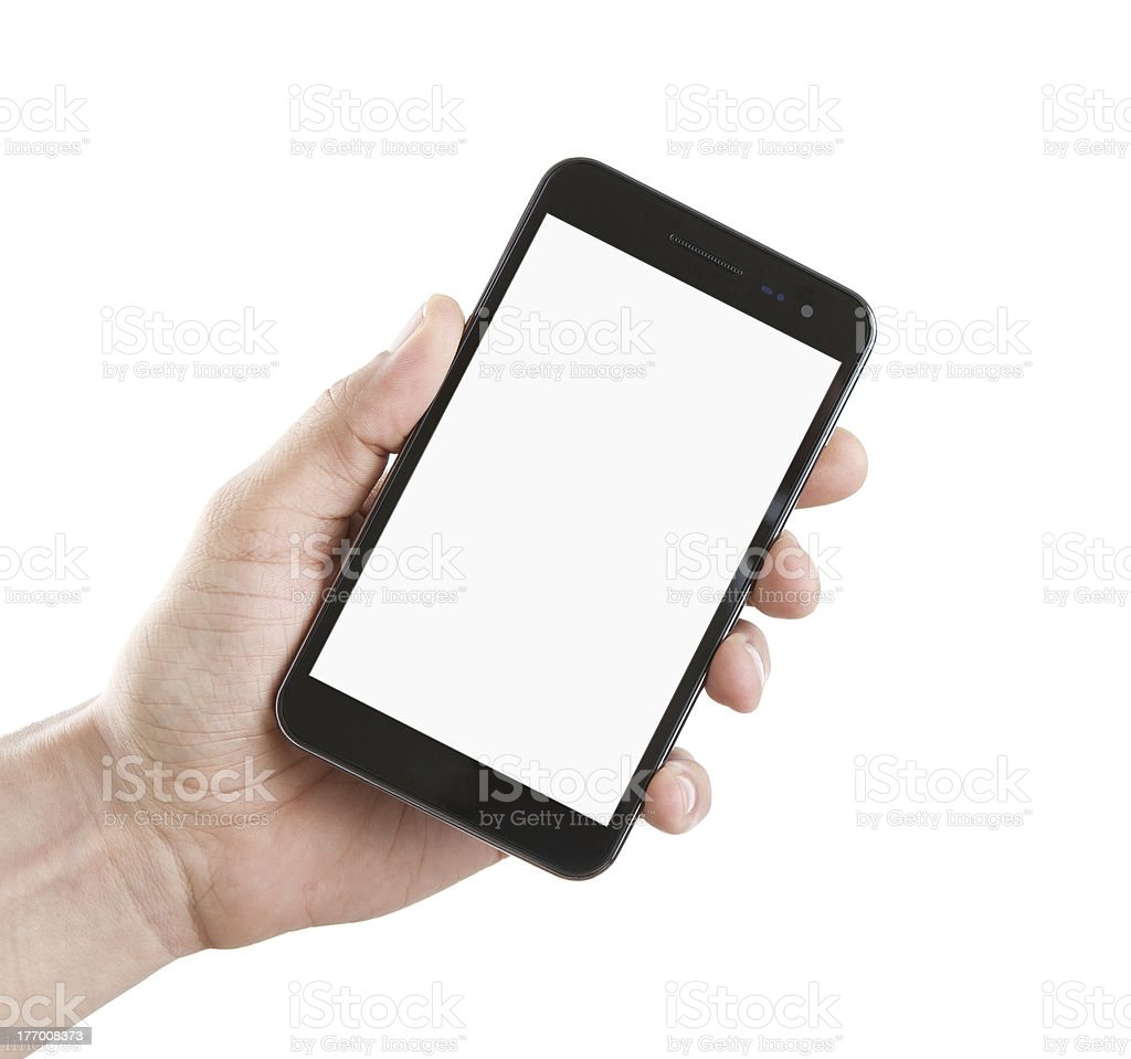 Blank smart phone in male hand stock photo