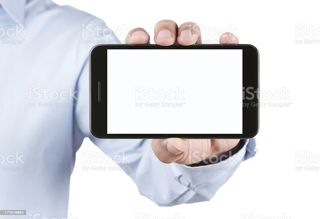 Blank smart phone in male hand with clipping path stock photo