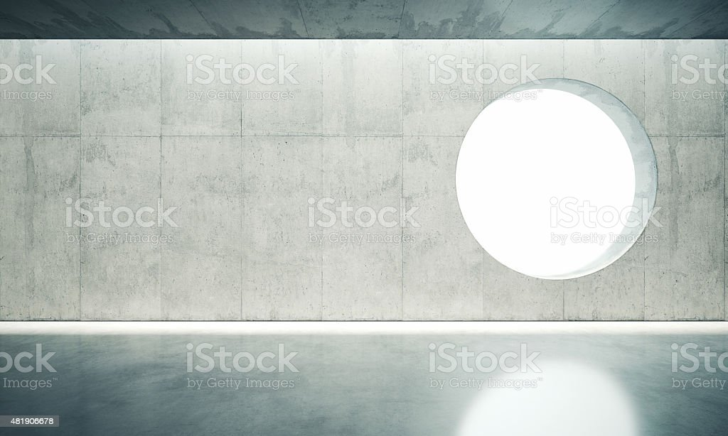 Blank space interior wall with one window. 3d render vector art illustration
